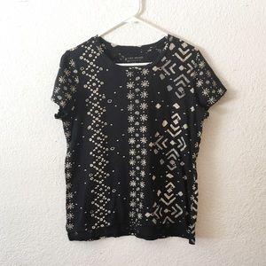 Lucky Brand Reverse Tie Dye Batik T Shirt Top
